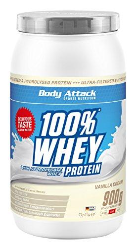 Body Attack 100% Whey Protein 900g, Eiweiß für den Muskelaufbau, aspartamfrei, glutenfrei, 4er Pack zum Sparpreis (Vanilla Cream, 4x 900g)