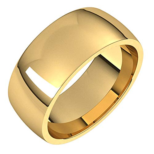 14ct Yellow Gold 8mm Lightweight Comfort Fit Bridal Wedding Band Ring, Size O 1/2
