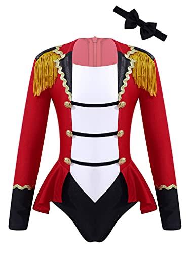 Freebily Disfraz Halloween Maestro de Circo para Nia Ceremonias Nias Tut Vestido Lentejuelas Bowtie Maillot Ballet de Danza Dulce Disfraz Carnaval Nia Rojo C 11-12 aos