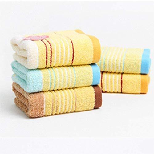 Toalla de algodón RTYUI, algodón puro de alta calidad súper absorbente 37 * 34 cm azul, marrón, amarillo (3 piezas)