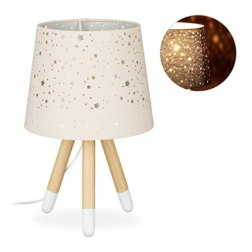Relaxdays Tischlampe Kinderzimmer, Nachttischlampe für Mädchen, E14, runder Stoffschirm mit Sternen, 40 cm hoch, rosa