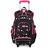COOFIT Cartable a Roulette Fille Sac a Roulette Fille en Nylon Cartable Fille a Roulette Sac a Dos Ecole Fille Sac Fille Primaire Cartable College Fille (Rose Rouge)