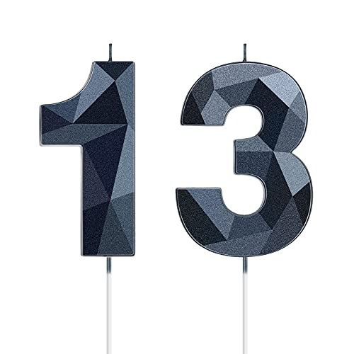 13th Birthday Candles, 3D Diamond Shape Number 13 Candles Happy Birthday Cake Topper Numeral Candles Decoration for Birthday Party Wedding Reunions Theme Party Anniversary Favors (Black)