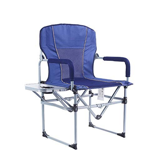 BIN Director's Chair Aluminum Folding Camping Chair Portable Lightweight Supports 120kg with Side Table Outdoor Suitable for Outdoor activities, Camping, Picnics,Blue