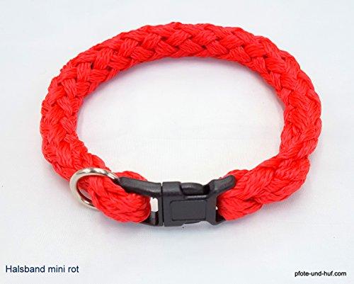 elropet Hundehalsband Mini für die Kleinen rundgeflochten Tauwerk rot (34cm)