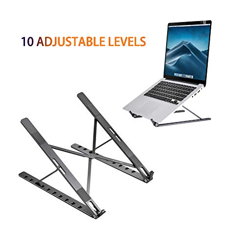 N / A Portable Laptop Stand 10 Levels Adjustable Holder for Book Foldable Vertical Ventilated Stand for MacBook Notebooks Space Gray