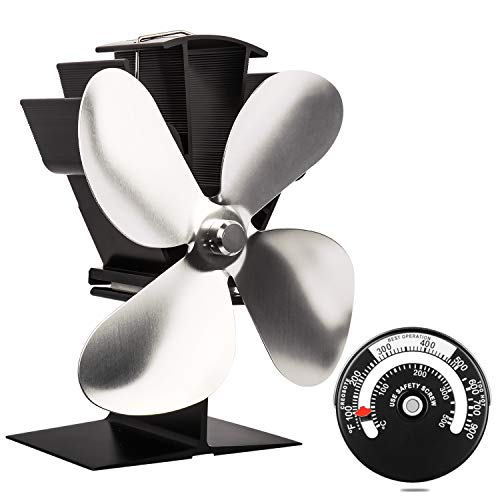 Heat Powered Stove Fan with Magnetic Thermometer 4 Blade Aluminium...