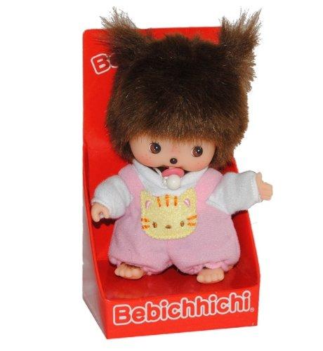 Unbekannt Bebichhichi Baby mit rosa / pink Latzhose und Schnuller - Mädchen Monchhichi Monchichi klein 14,5 cm