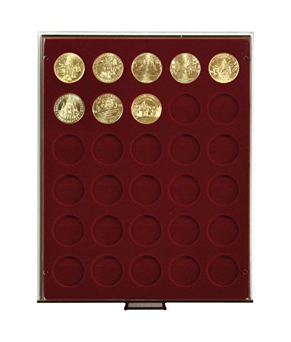 Preisvergleich Produktbild Münzenbox mit 30 Vertiefungen á 34 mm Ø (Lindner 2750),  z.B. für 1 Rubel Alexander III,  1886-1894 (Silber),  1 Rubel Nicholas II,  1895-1915 (Silber),  100 Schilling Österreich Republik (Gold),  20 CHF - Ausführung: Rauchglas