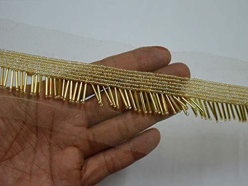 Exclusivo adorno bordado hecho a mano con cuentas al por mayor de oro indio recorte por 9 yardas disfraz de boda vestido de moda cinta de novia fajas decorativas, manualidades, costura, borde indio, recorte