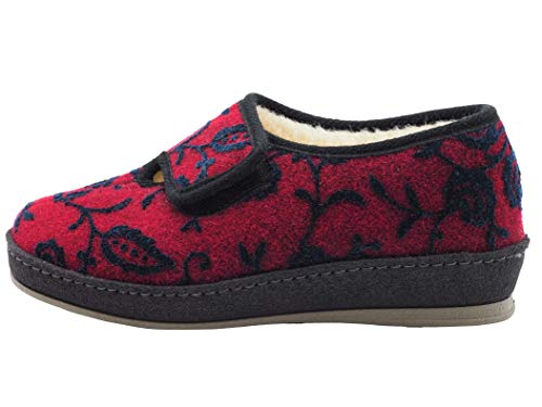 Schawos Filz Hausschuh für Damen, Modell Marie, Made in Germany, mit anatomisch geformtem Fußbett und aktiver Fersendämpfung, Farbe: Bordeaux (Numeric_42)