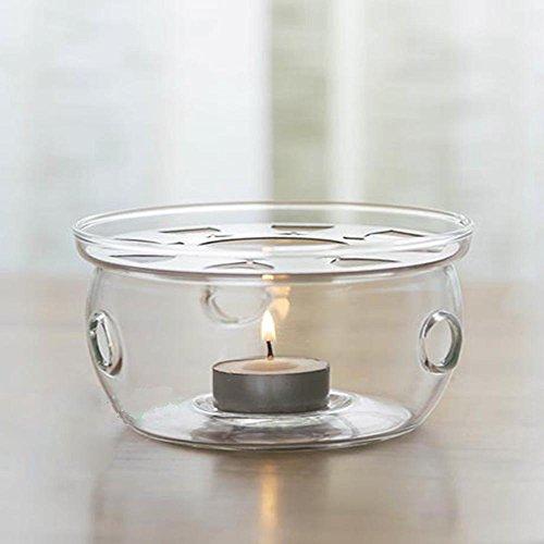 TAMUME Trasparente Teiera Caldo Vetro Crystal Clear 12.7 * 12.7 * 7,5 CM Teiera Warmer per Tealight I titolari con Articoli da Regalo Tealight Candela Tè Adatto a 200-600ML Teiera Tè Caldo