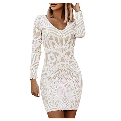 Toimothcn Women White Lace Dress Slash Neck Off Shoulder Cocktail Party Elegant Dress Sexy Prom Gown(3 White,XXXL)