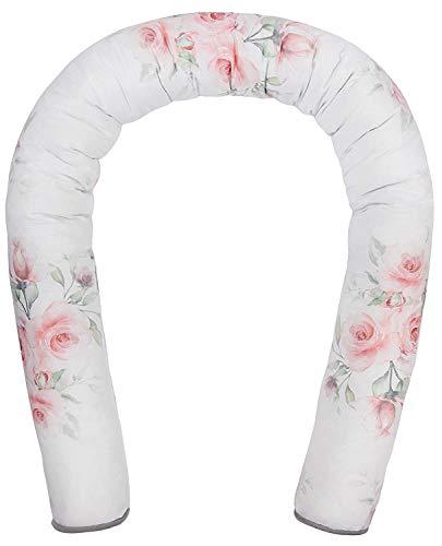 LULANDO Bettschlange, Nestchenschlange für baby 190 cm x 10 cm, Bettrolle, Kissenrolle, hochwertige Materialien, 100 % Baumwolle, antiallergisches Silikonvlies, Roses