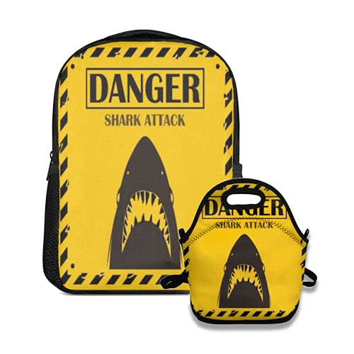 backpack and lunch bag set Shark sighting sign Yellow danger shark attack background For School College Office Organizer Teens Girls Adults Student lyx