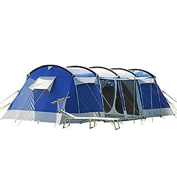 skandika Montana 8 - Tente de Camping Familiale Tunnel - 700 x 310 cm - 8 Personnes (Bleu)