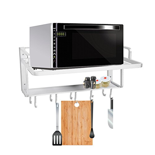 2 Ebenen Aluminium Wandmontiertes Mikrowellen-Ofenregal, Mikrowellen-Halterung, Küchenwandhalterung, Ofenregal mit Multifunktions-Haken für Küche, 55 x 38,5 x 25 cm