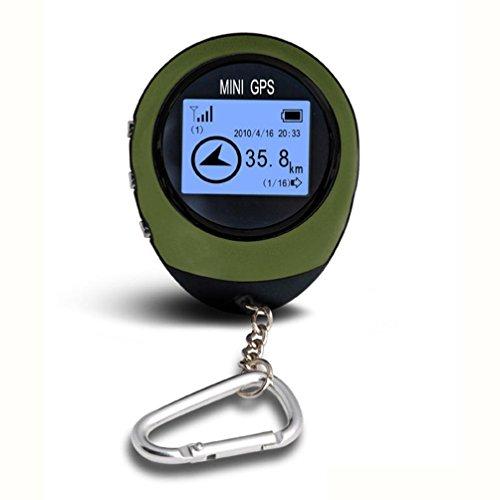 Hunpta Mini récepteur GPS Tracker + Emplacement Finder Porte-clés USB rechargeable pour extérieur, vert militaire