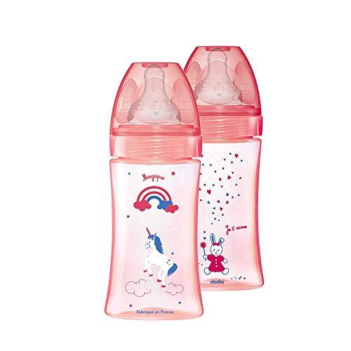 Dodie - Set mit 2 Babyflaschen + 270ml Rosa Einhorn 0-6 Monate, Flacher Sauger Flussrate 2