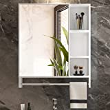 LVSOMT 27 Inch Bathroom Wall Mounted Cabinet, Aluminum Medicine Mirror Cabinet, Storage Organizer, Over The Toilet/Vanity Sink White Hanging Cabinet with Shelves, Towel Bar, Door (White)