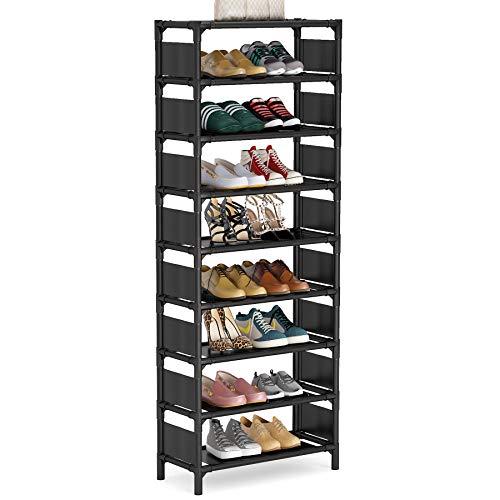 Tribesigns Vertical Shoe Rack 8 Tiers Narrow Shoe Shelf 16 Pairs Shoe Storage Organizer Space Saving