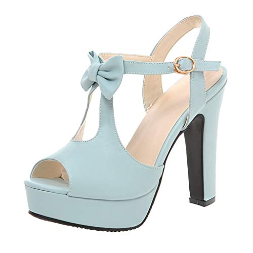 Affordable Women's Large Size Sandals Ladies Peep Toe Bowknot Buckle High Heel Shoes Waterproof Plat...