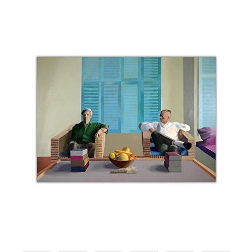 TanjunArt Lienzo David Hockney Christopher Isherwood y Don Bachardy Arte Pintura al óleo Imagen Decoración de Pared Decoración del hogar -60x90cm Sin Marco