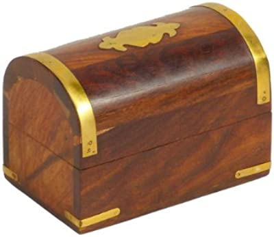"Ring of Fire Enterprises 4.5"" Wooden Treasure Chest Box with Brass Accents"