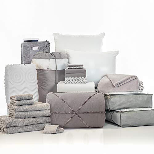 OCM College Dorm Room 24-Piece Complete Campus Pak | Twin XL | with Topper, Comforter, Sheets, Towels, Storage & More | Silas Gray | 100% Cotton Soft Gray Comforter, Solid & Geometric Sheets
