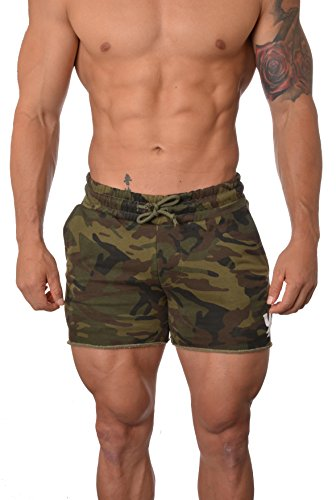 YoungLA Men's Bodybuilding Gym Workout Shorts 102 Camo Green L