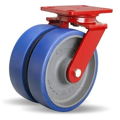 Hamilton Heavy Service Dual-Wheel Swivel Caster Part# S-HS2-8SPB 8' x 2' Ergo-Glide Polyurethane (85A) on Cast Iron Wheels with 1/2' Sealed Precision Ball Bearings - 2,100 lbs Capacity - USA Made