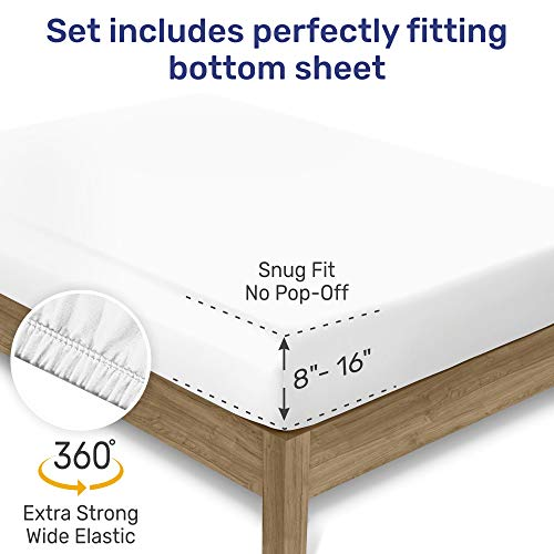 400-Thread-Count 100% Cotton Sheet Pure White Queen-Sheets Set, 4-Piece Long-staple Combed Cotton Best-Bedding Sheets For Bed, Breathable, Soft & Silky Sateen Weave Fits Mattress Upto 18'' Deep Pocket