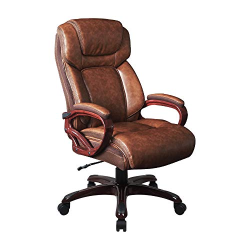 LCH Big & Tall High Back Bonded Leather Executive Office Chair - Adjustable Recline, Thick Padding and Ergonomic Design for Lumbar Support-400lbs (Wood Base)