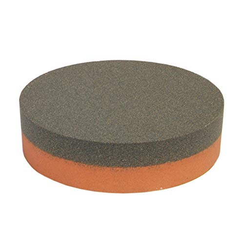 Norton Abrasives IB64 India AO Combination Grit Benchstone With Coarse and Fine Grits, Aluminum Oxide Abrasive, Orange/Brown Colors, Round, 4' Diameter x 1' Thick