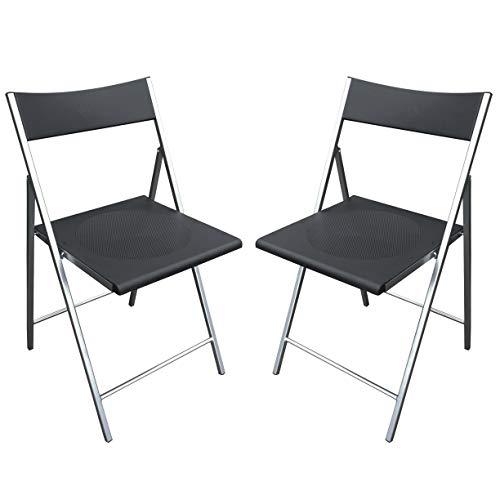 MILANI HOME Set di Due SEDIE Pieghevoli con Seduta Nera in PVC E Struttura in Metallo Verniciato per Ufficio CASA Campeggio, Ospiti Cucina Camera da Letto