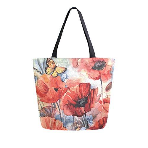 Mnsruu Bolsa de comestibles con diseño de amapolas y mariposas para mujer, bolso de mano grande y casual, bolsa reutilizable para ir de compras, ir al gimnasio