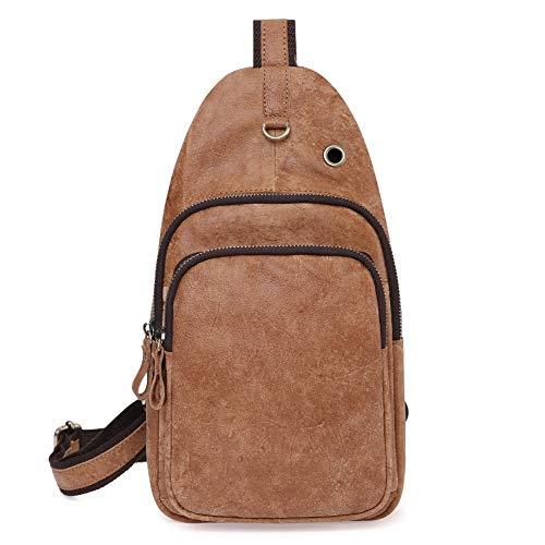 Zzyff Casual Retro Matte Leather Men's Bag Fashion Multi-function Men's Chest Bag Music Headphones Sports Outdoor Shoulder Messenger Bag