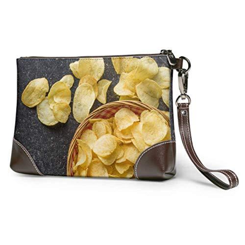 XHYYY Bolso de mano con papas fritas crujientes, cuenco de mimbre en cuero, cartera de mano, cartera para mujer, bolso de mano, bolso de mano para teléfono inteligente