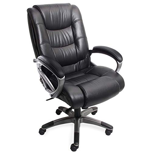 Mayline Ultimo 500 High-Back Leather Task Chair with Arms, Black Leather