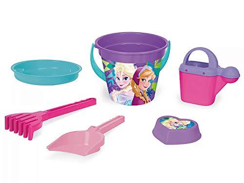 Wader Disney 77937 - Juego de 6 Cubos con Cubo, colador, Jarra de Agua, Pala, rastrillo y Forma de Arena, diseño de Frozen