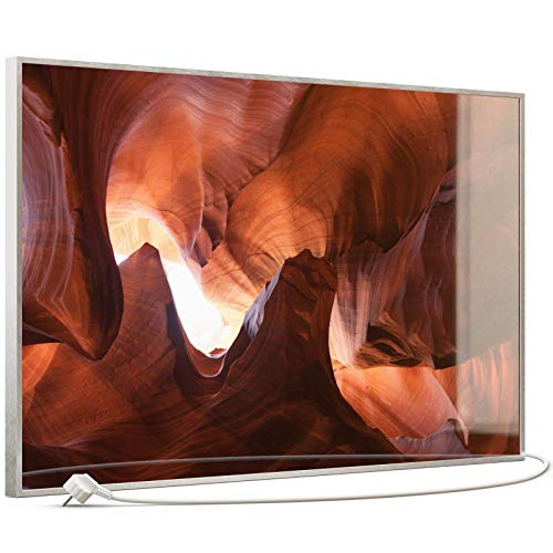 STEINFELD Heizsysteme® Glas Bild Infrarotheizung Heizpaneel mit Thermostat | Made in Germany | viele Motive 350-1200 Watt Rahmen silber/alu (600 Watt, 054 Canyon)