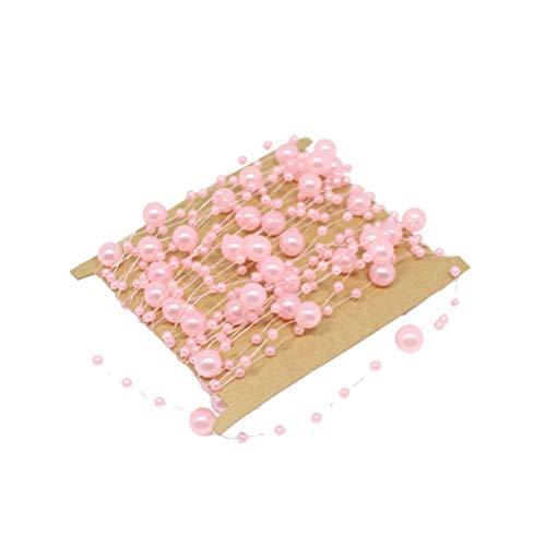 YeahiBaby 2pcs Perlengirlande 5m Perlenband Perlenkette Hochzeit Party Dekoband DIY Basteln Handwerk Dekoration (Rosa)
