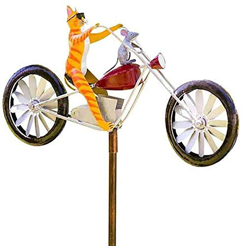 Bicycle Metal Wind Spinner,Garden Decor Frogs on a Bicycle, Handmade Bike Frogs/Cat & Rat/Bunnies/Mantis Cute Animal Spinner Sculpture Yard Lawn Outdoor Decoration-B