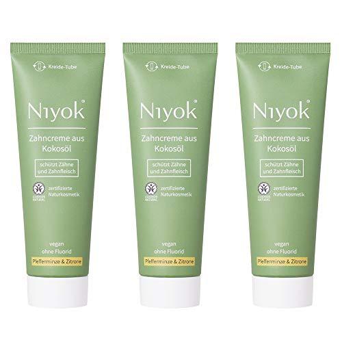 Niyok® Kokosöl Zahnpasta ohne Fluorid und Mikroplastik Plastik | Bio Naturkosmetik Sensitiv auch für Kinder | Xylit Herbal | natürliche Zahncreme VEGAN | Pfefferminze & Zitrone (3x 75ml)