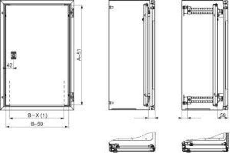Schneider Electric NSYPIN108 Puerta Interior para Armario, Spacial Mural, Acero Al 1000 x An 800, Profundidad regulable
