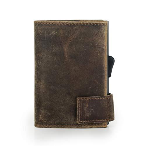 SecWal Kartenetui mit Münzfach Reißverschluss (Braun Hunter)