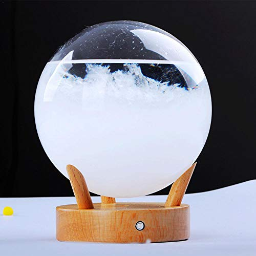 Predictor meteorológico de Escritorio Innovador y Elegante Predictor meteorológico de Vidrio de tormenta con Base de Madera Pequeña estación meteorológica para Oficina en casa