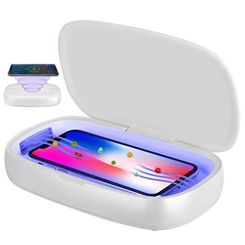 Kintty UV-Handy-Sterilisator,UV-Desinfektionsbox,3-in-1Tragbares Multifunktions Automatische Sterilisations-Desinfektionsbox mit Drahtlose Ladung und Aromatherapie für Mobiltelefone,Kosmetika,Uhren