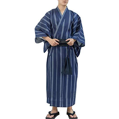 Kimono japonés Yukata japonés para Hombre Pijama de túnica para el hogar Bata Talla L-C1