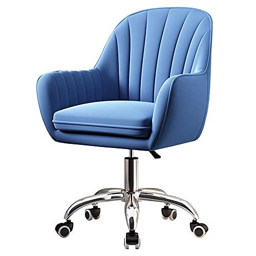 Silla de terciopelo para el hogar y la oficina con silla acolchada y giratoria de altura ajustable, silla de escritorio ergonómica para el hogar, oficina, dormitorio, conferencia, color azul